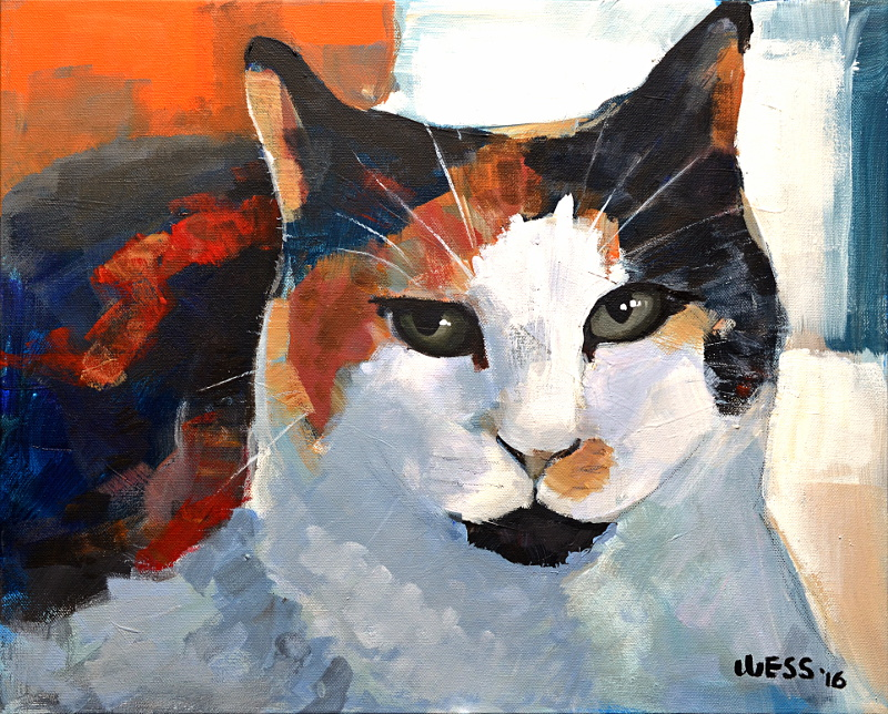 "Chloe, Calico, 16x20"", SOLD"