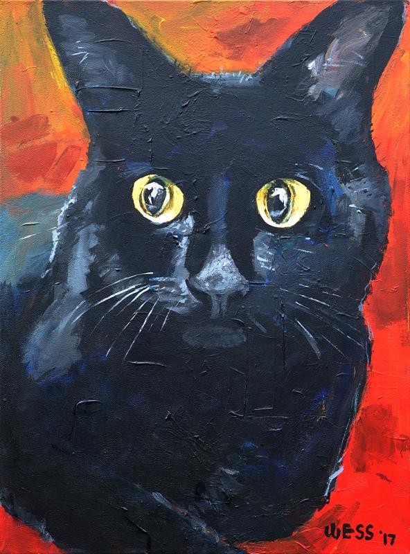 """Black Cat, 24x18"""", $375"""
