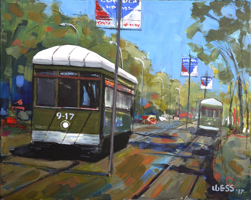 "NOLA Streetcars, 16x20"", SOLD"
