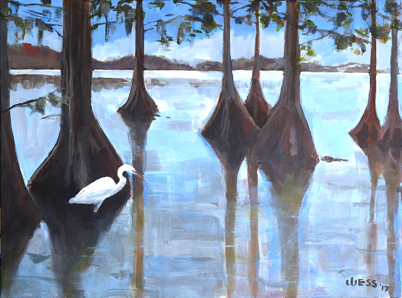 "Lake St. John with Egret, 18x24"", $375"