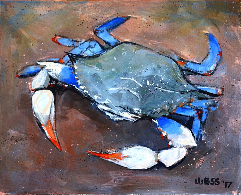 "Blue Crab, 16x20"", $300"