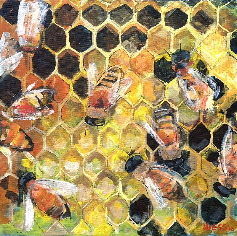 "Honeybees, 20x20"", SOLD"