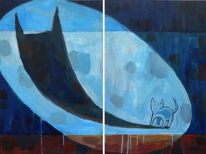 "Courage Kitten, diptych, two 36x24"", $1450"