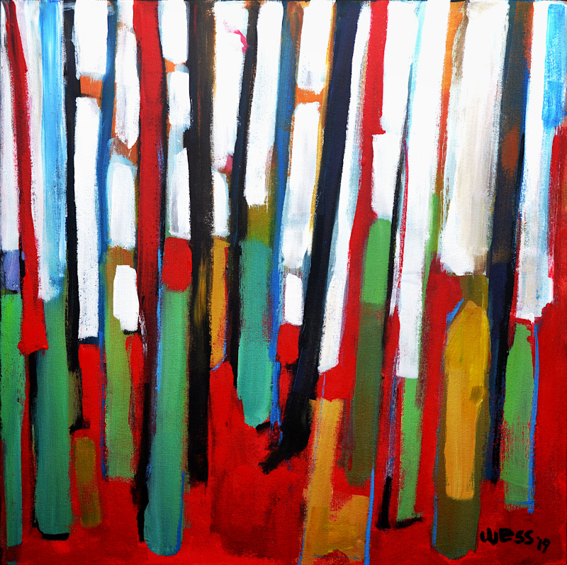 "Standing Red, 20x20"", $425"