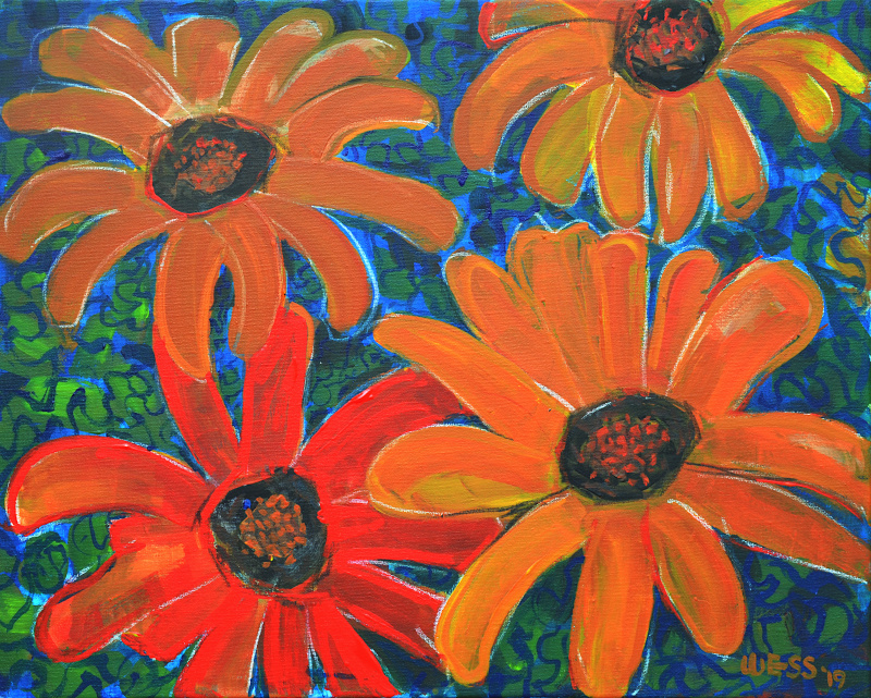 "Orange Daisies, 16x20"", $350"
