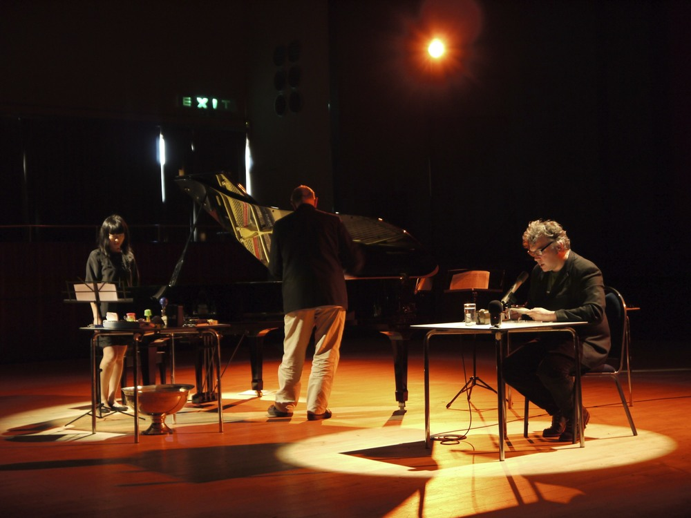 De La Warr Pavilion, 2011, performing John Cage's Indeterminacy with Steve Beresford and Stewart Lee
