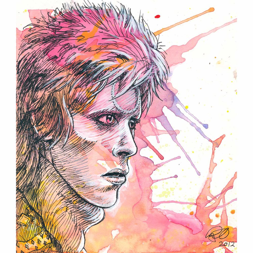 "Ziggy Stardust  2012  Watercolor, acrylic, and ink on paper  5"" x 5.5"""