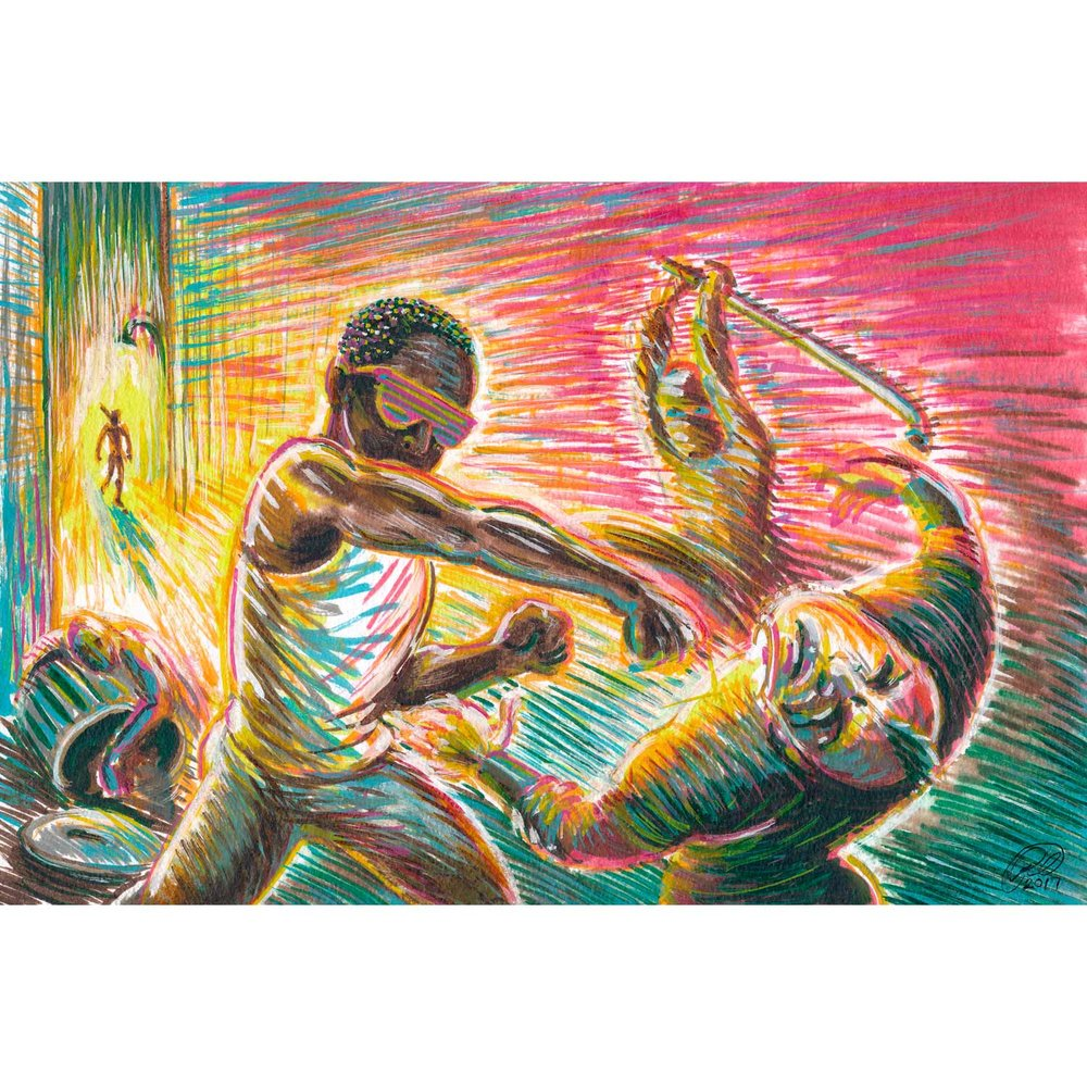 """Street Justice  2017  Paint markers on cotton rag paper  11"""" x 7.5"""""""