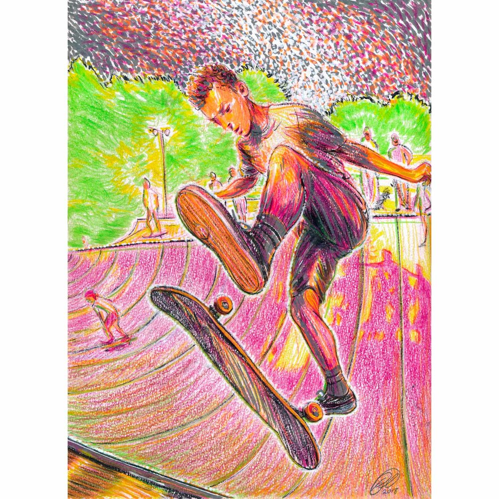 "Tony Zane at Kona Skate Park  2018  Colored pencil, paint marker, and ink on cotton rag paper  9"" x 12""  Reference: photo by Stefan Judge, Concrete Wave Magazine - Fall 2017"