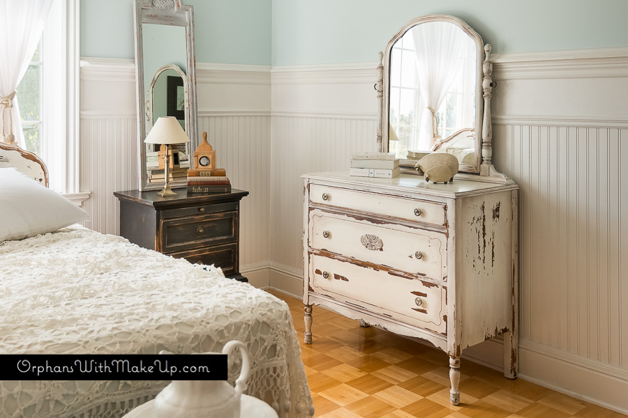 Shabby white dresser with patina