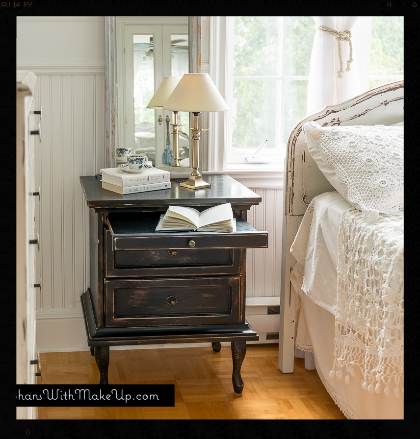 """Queen Anne legs added to plain end tables. Painted in """"Liquorice"""" by Country Chic Paint."""
