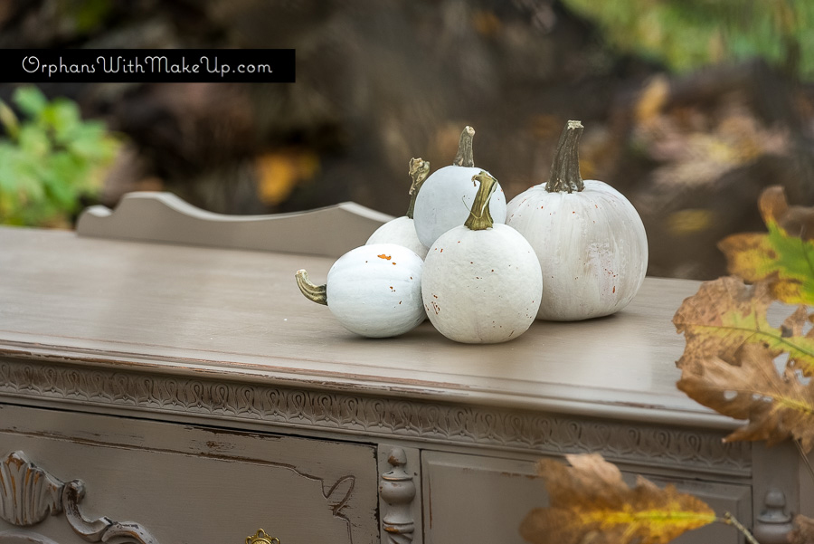 Painted buffet and painted pumpkins