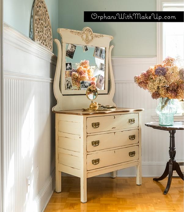 A Pretty Detailed Dresser (Old White Chalk Paint® decorative paint by Annie Sloan)