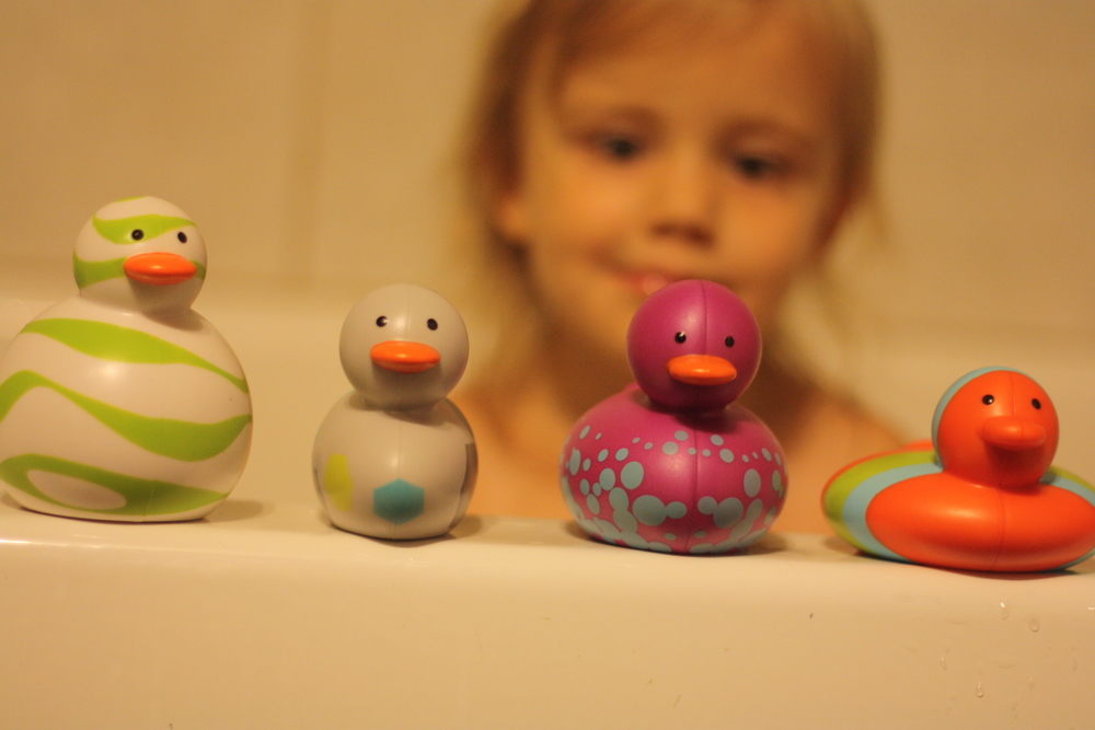 Rozzlyn playing with her ODD DUCKS.