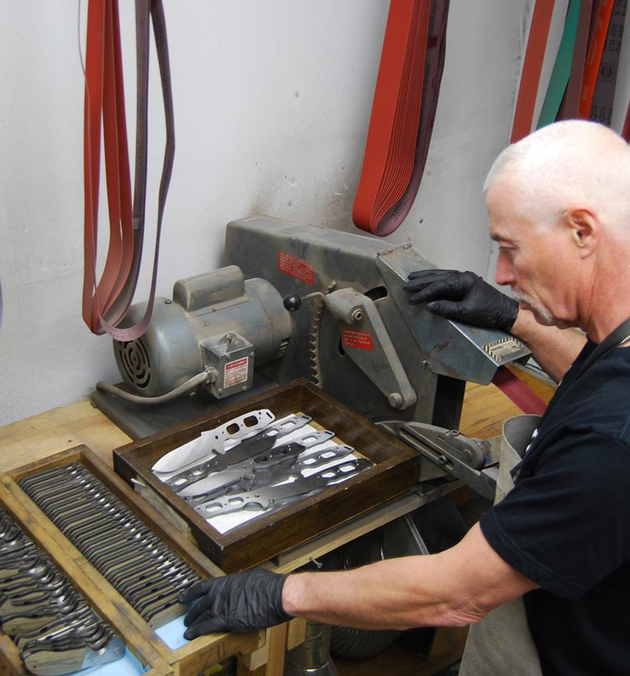 Emerson working on custom knives