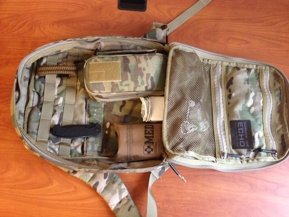 GORUCK GR Echo. Like all GR rucks, it opens flat, allowing for great organization and access to all your gear.