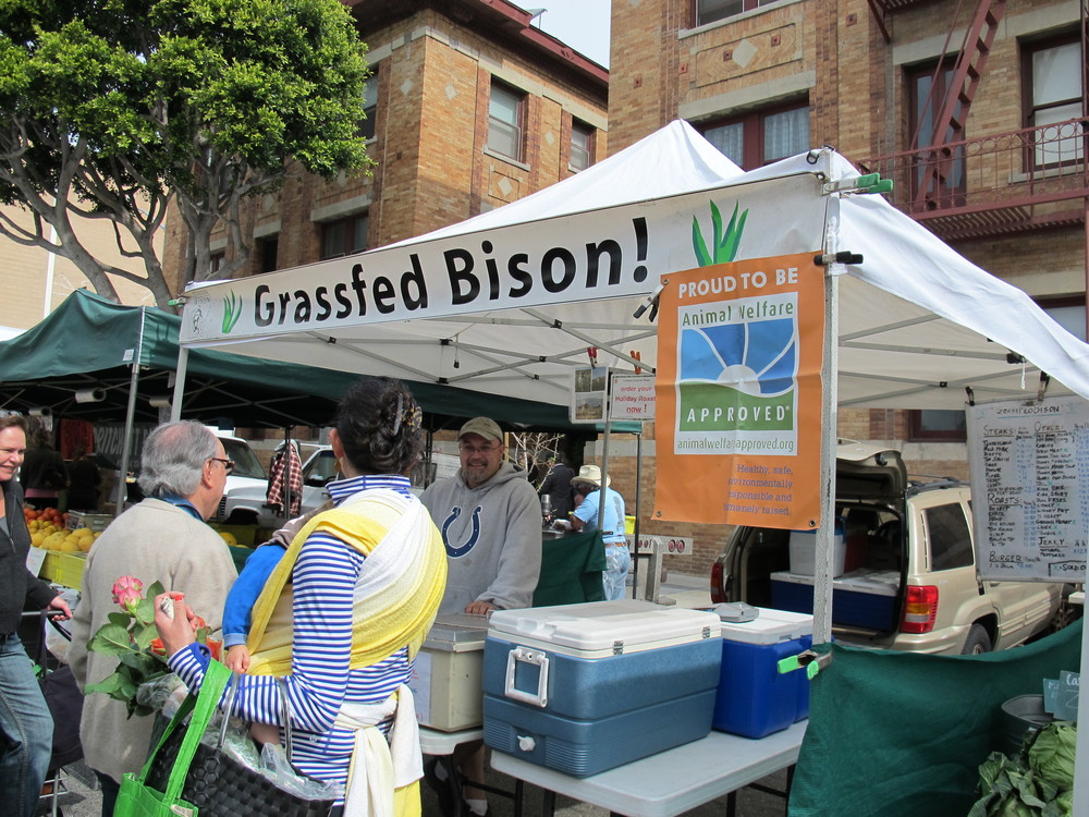 inder Bison's stall at the Santa Monica farmer's market