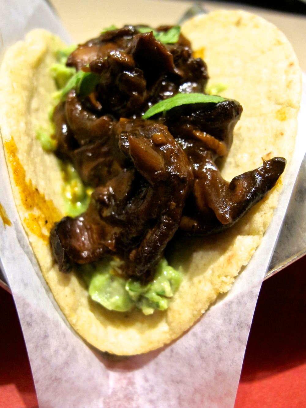 Wild mushroom and avocado taco