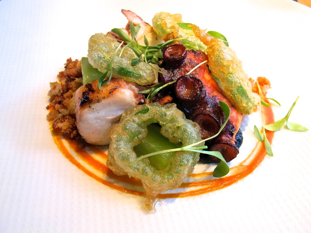 BBQ octopus, jalapeno rings, cucumber and bread crumbs.