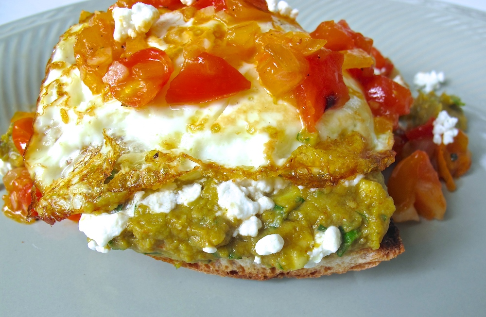 egg avocado toast with salsa