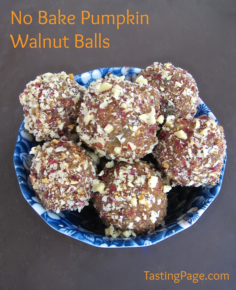 No bake pumpkin walnut balls