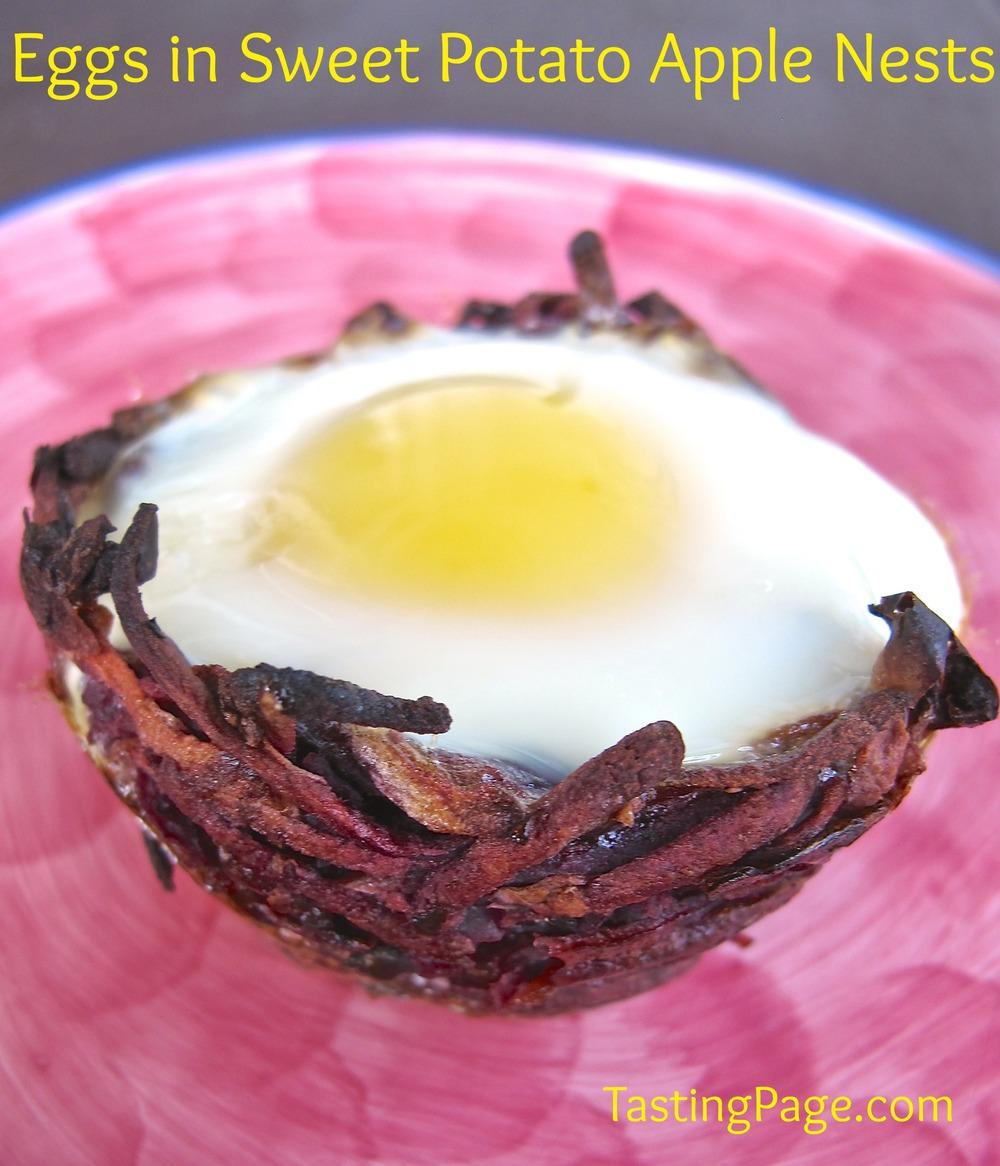 eggs in sweet potato apple nests