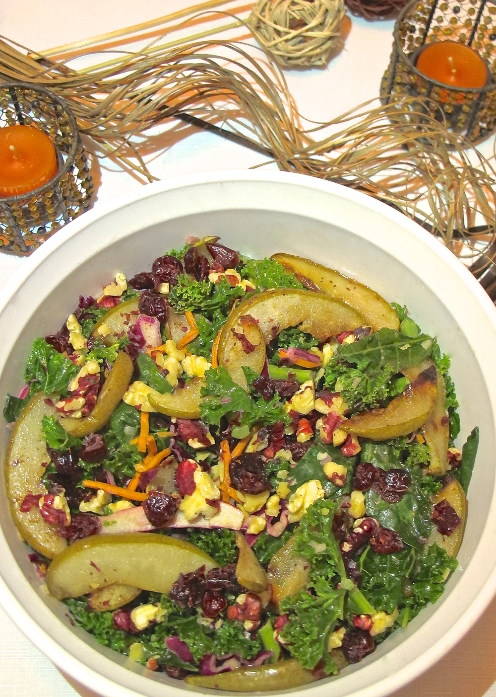 kale, pear walnut salad