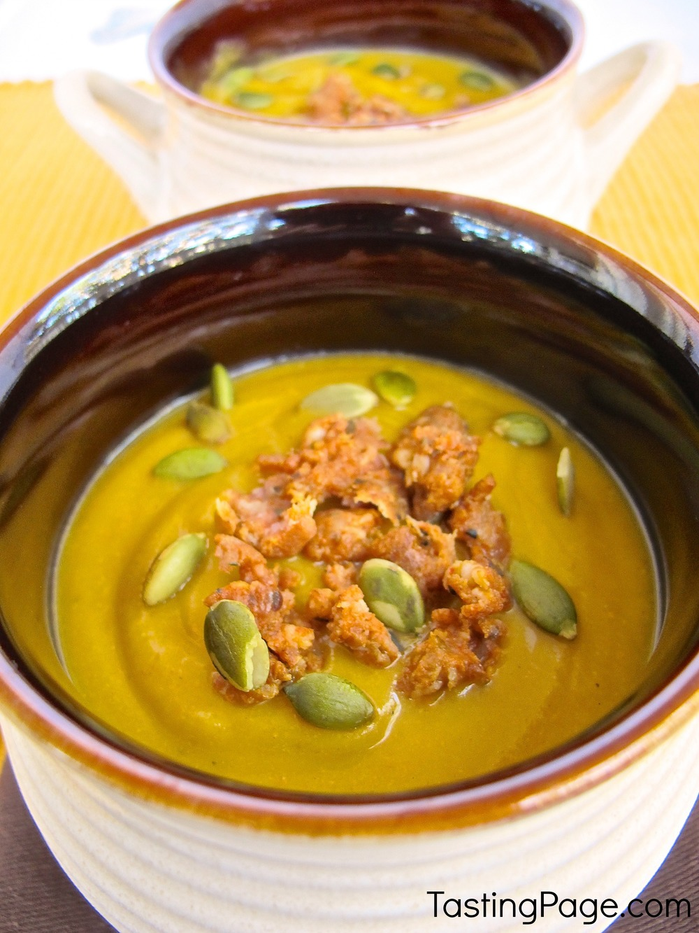 Spicy Butternut Squash Soup with Chorizo and Pepitas