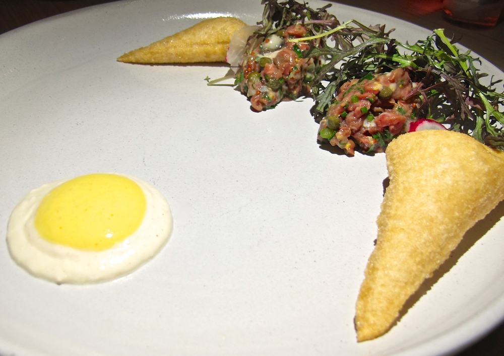 Saint Martha steak and oyster tartare