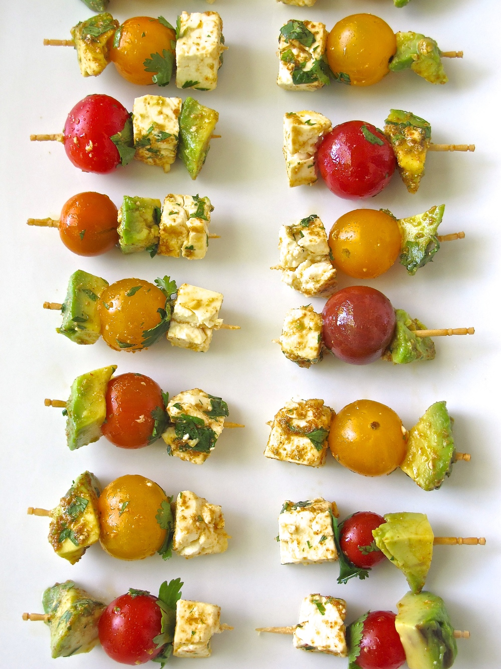 guacamole deconstructed and skewered