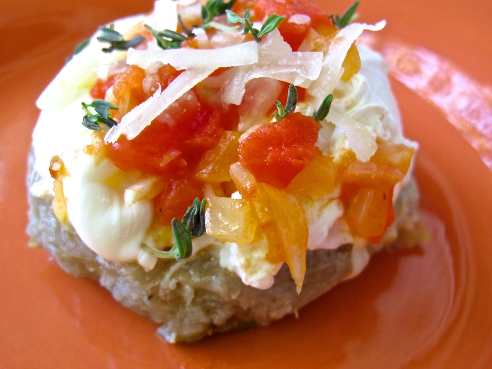artichoke with poached egg and tomato salsa
