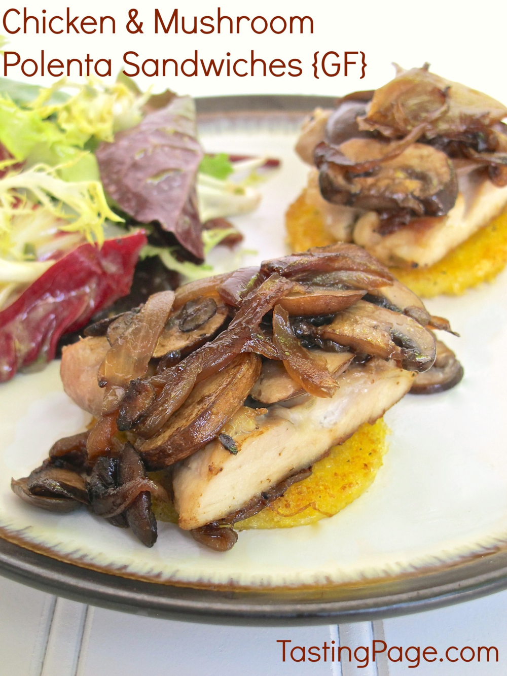 Chicken and Mushroom Polenta Sandwich {Gluten Free}