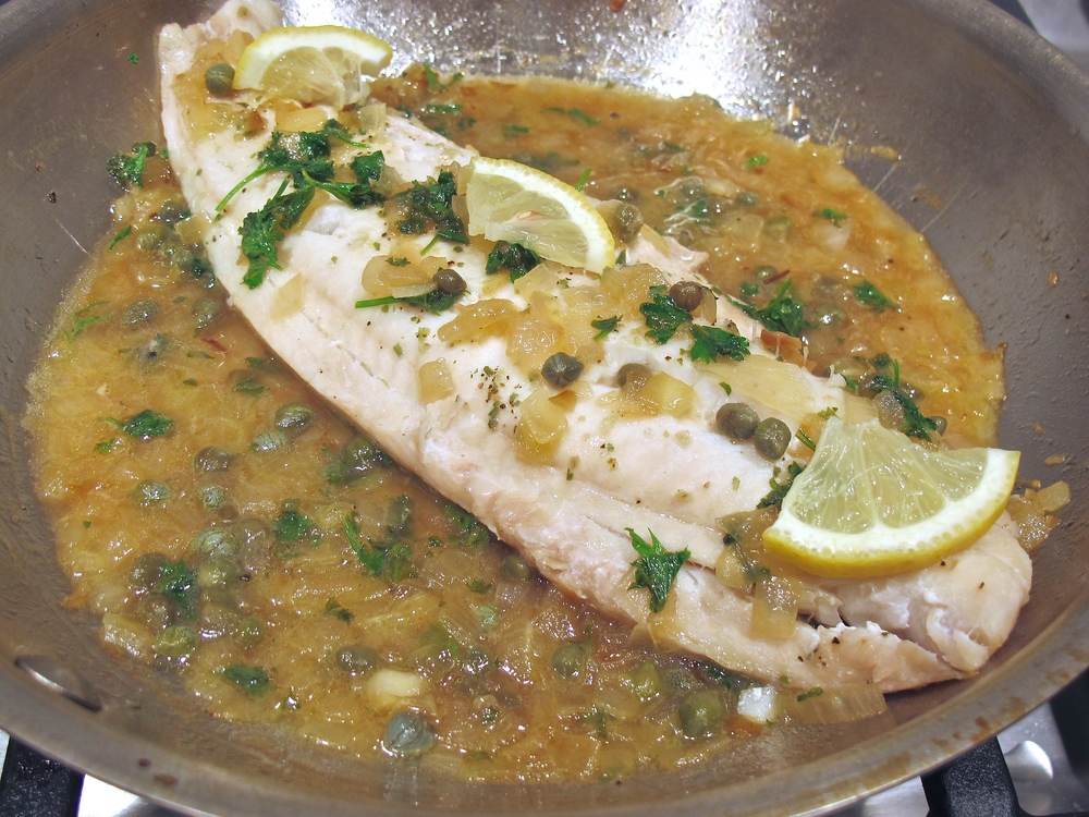Cod in white wine lemon caper sauce
