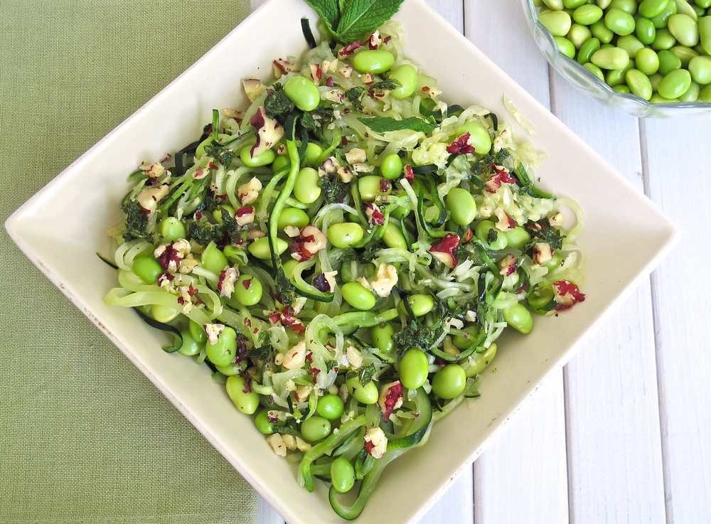 Edamame Tossed Zoodles with Honey Walnut Vinaigrette