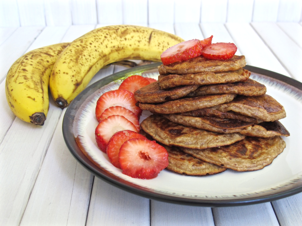 Banana Peanut Butter Pancakes gluten free and vegan