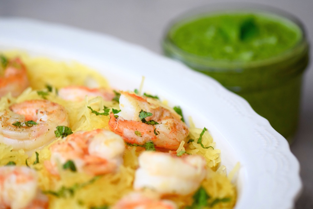 Spaghetti squash shrimp vegan pesto   TastingPage