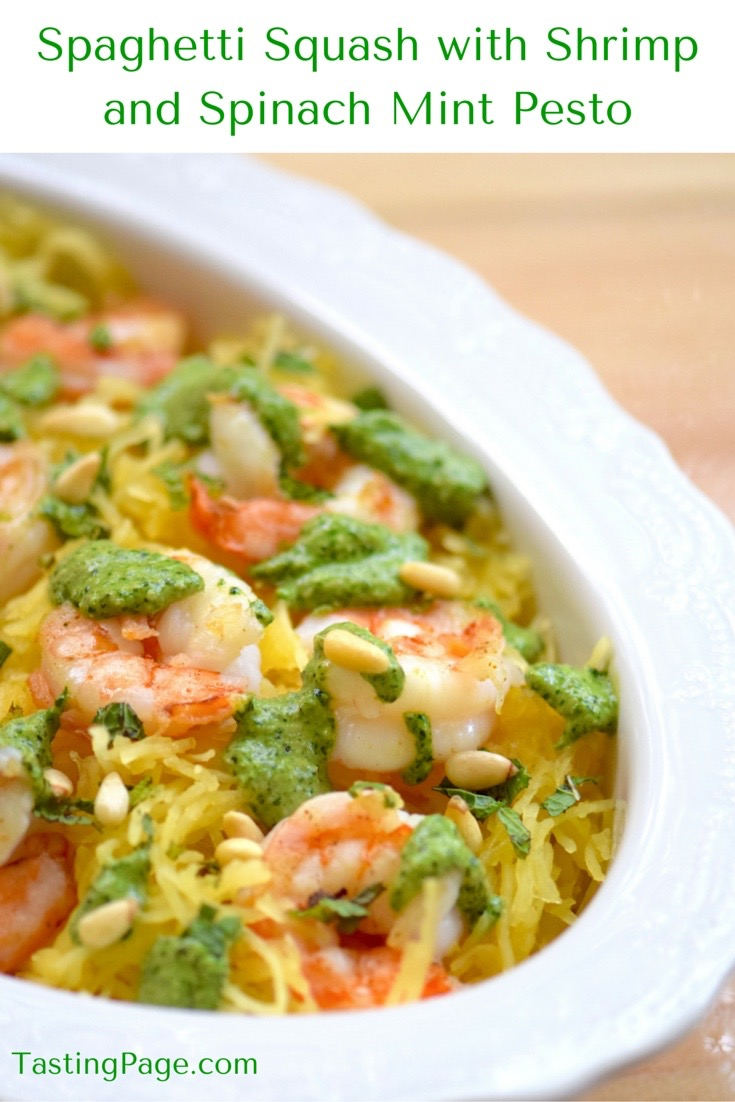 Spaghetti Squash with Shrimp and Spinach and Mint Pesto | TastingPage
