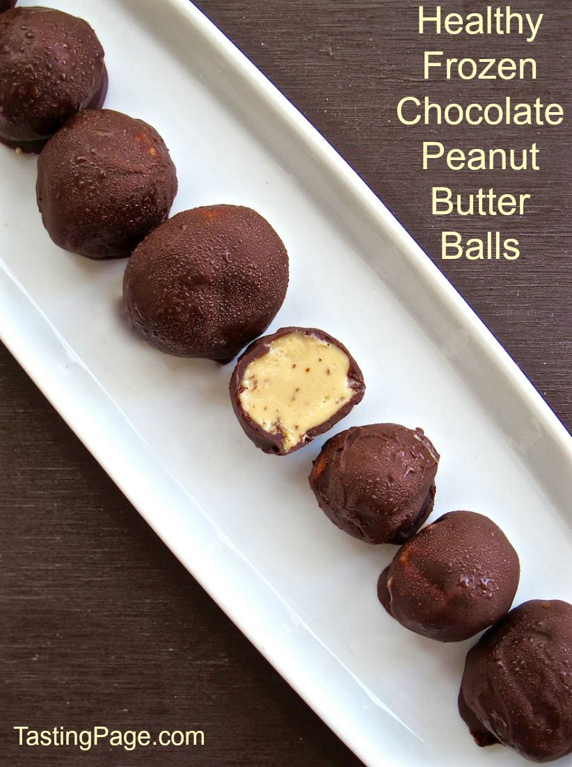 Healthy Frozen Chocolate Peanut Butter Balls | TastingPage.com