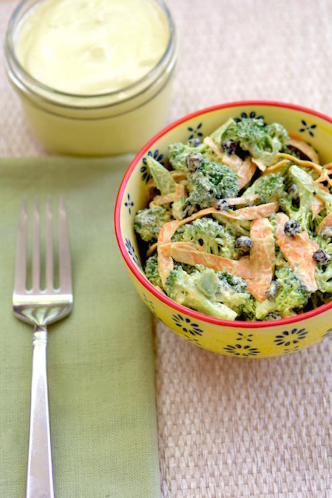 Raw broccoli salad - dairy free | TastingPage.com