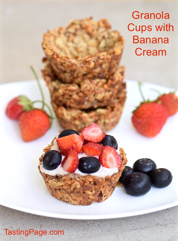 Granola Cups with Banana Cream - gluten free, dairy free and vegan | TastingPage.com