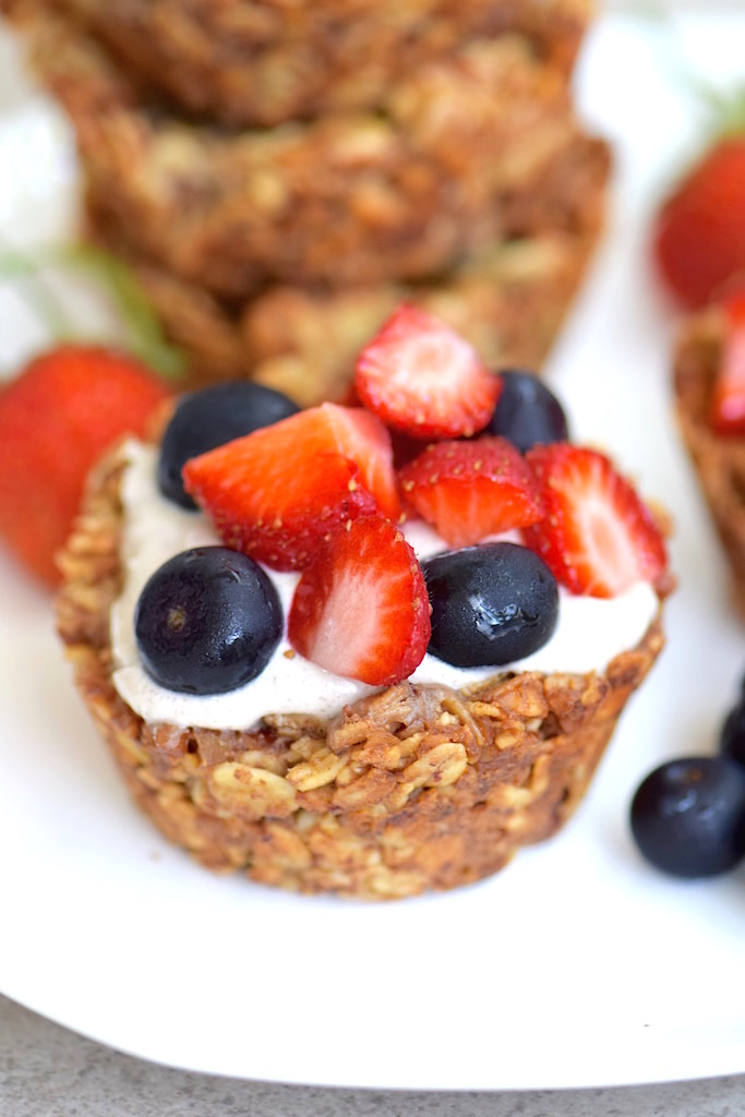 Gluten Free Granola Cups with Banana Cream | TastingPage.com