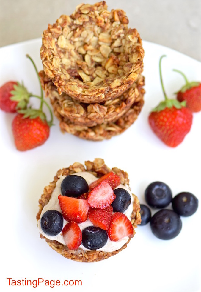 Gluten Free Granola Cups with Vegan Banana Cream | TastingPage.com