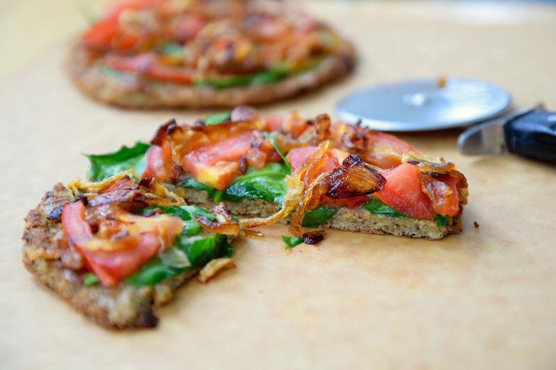 GF Vegan Cauliflower Veggie Pizza | TastingPage.com