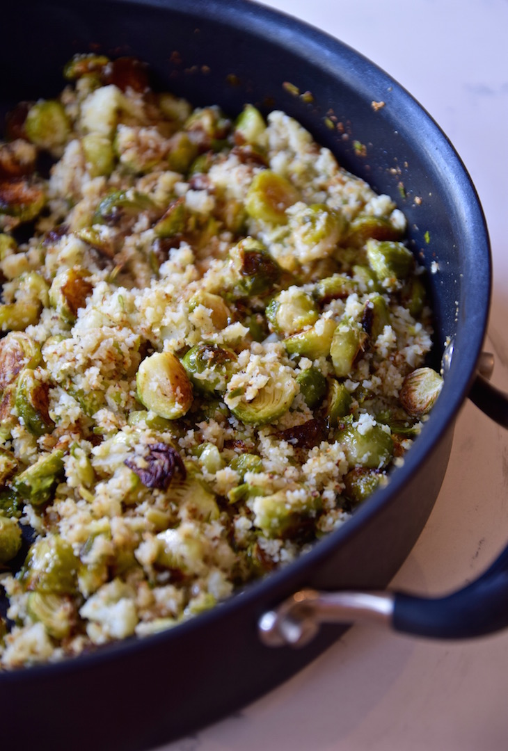 Gluten free cauliflower rice with brussels sprouts