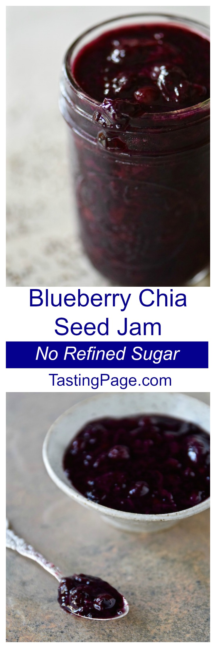 4 Ingredient Blueberry Vanilla Chia Seed jam with no refined sugar | TastingPage.com