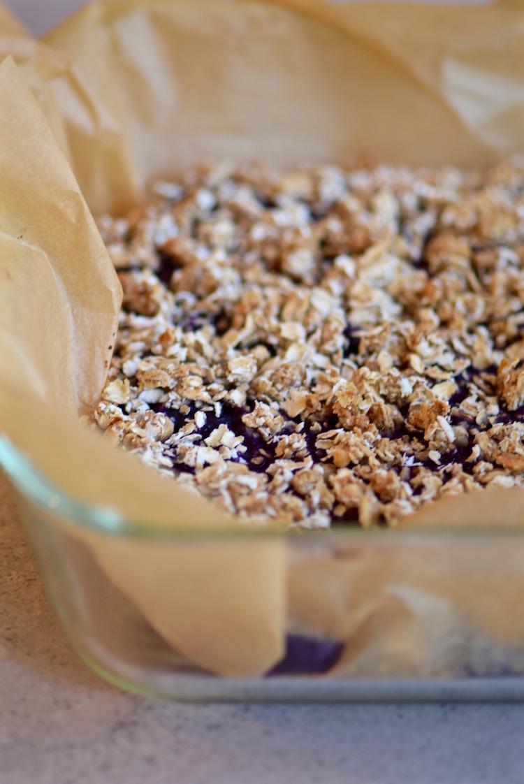Gluten Free Blueberry chia jam oat bars