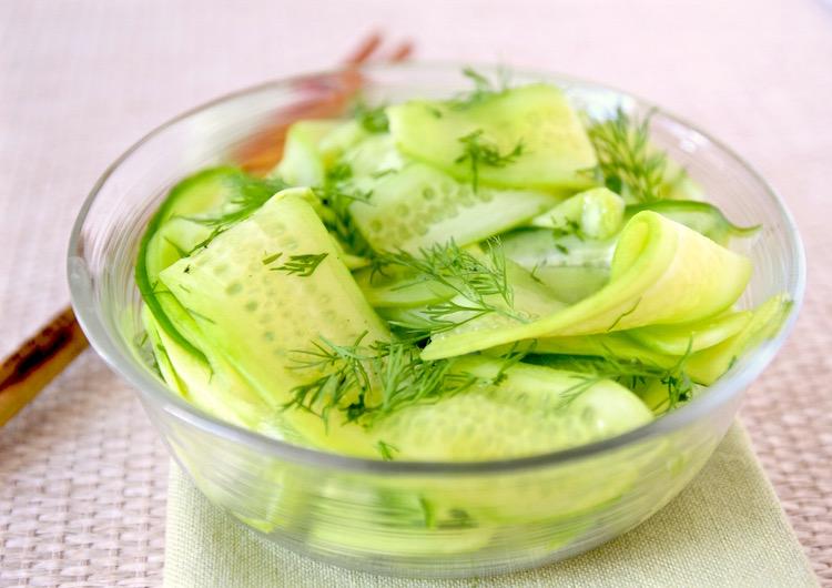 Cucumber Ribbon Dill Salad | TastingPage.com