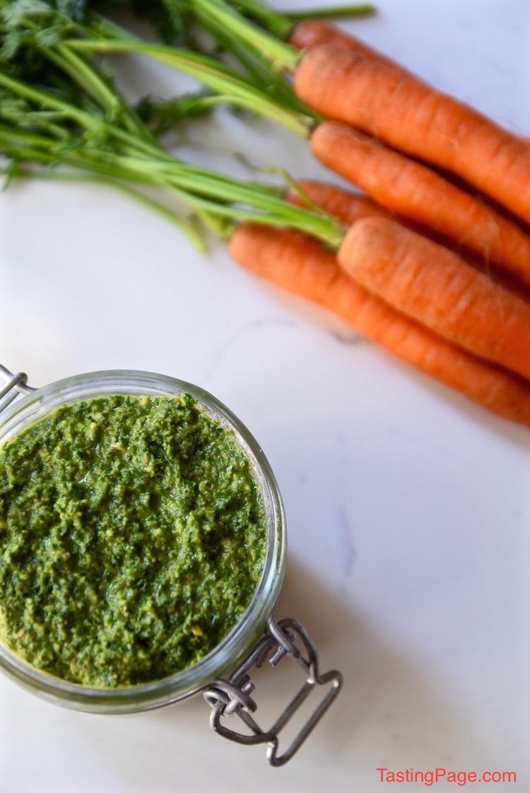 Carrot Top Mint pesto | TastingPage.com