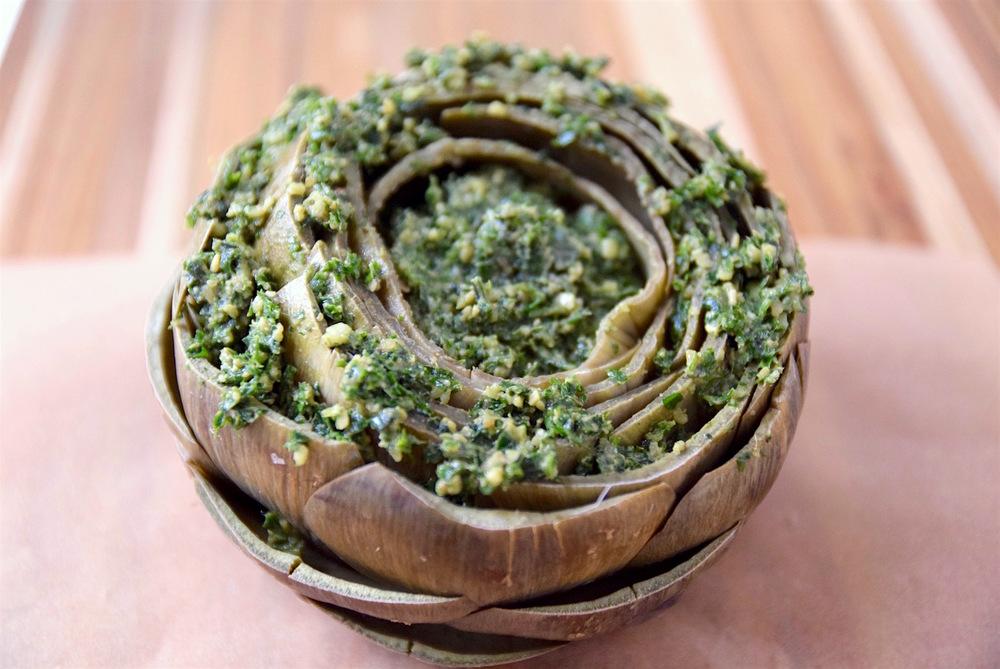 Pesto filled artichoke - gluten free and dairy free | TastingPage.com