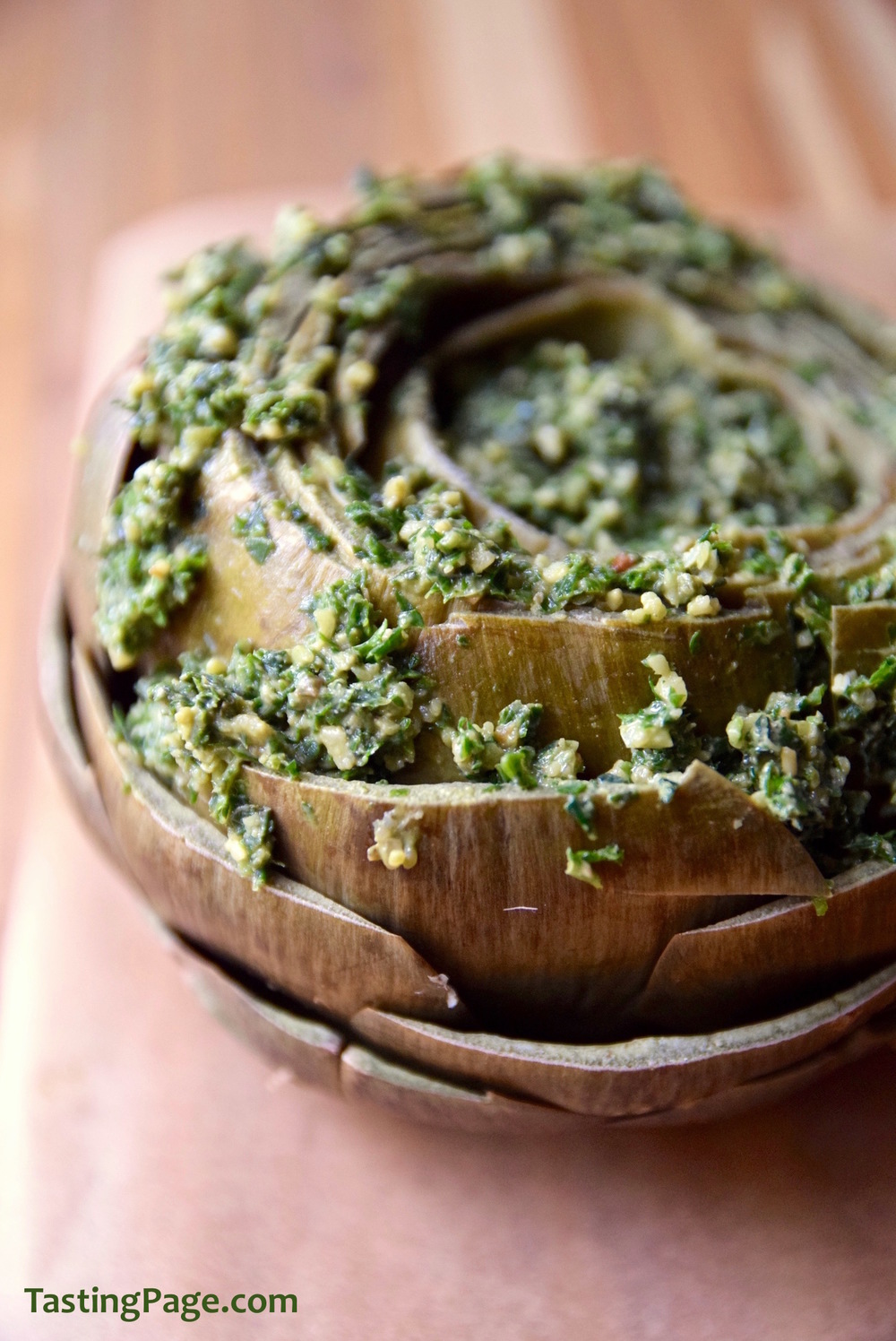 Anchovy Parsley Pesto Stuffed Artichoke - gluten free and dairy free | TastingPage.com